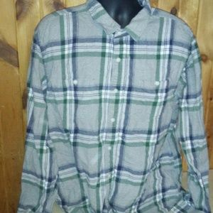 old navy men 3XL gray vintage flannel shirt E31
